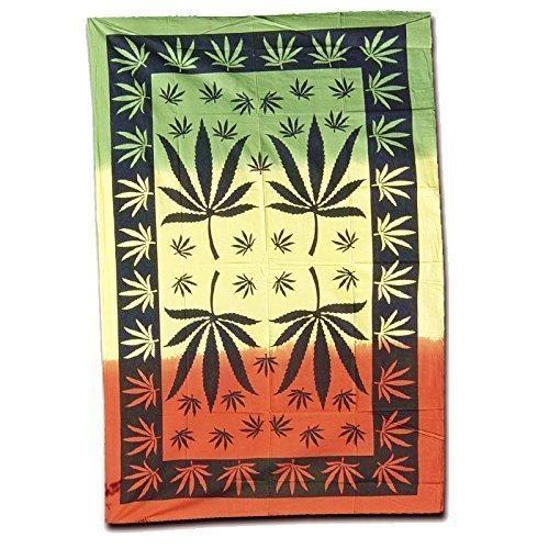 Batik panno parete panno copriletto 2200x1400 Leafs Rasta canapa Goa beach arazzo