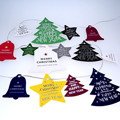 Colorful Christmas Hanging Tags with silver string for Gift Packaging or Decoration, Pack of 5 sheets, Total 70 pcs (Decorative Packaging compare prices)