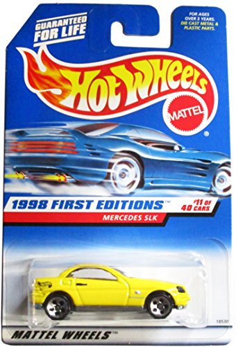 Hot Wheels - 1998 First Editions - Mercedes SLK - Yellow - #11 of 40 Cars - Die Cast - Collector #646 - Limited Edition - Collectible 1:64 Scale - 1