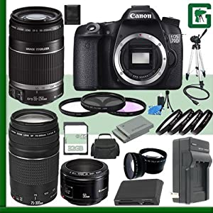 Canon EOS 70D Digital SLR Camera and Canon EF 75-300mm III Lens and Canon 50mm f/1.8 Lens and Canon 55-250mm Lens + 32GB Green's Camera Package