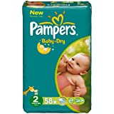 Pampers - Baby Dry - Couches Taille 2 Mini (3-6 kg) - Format Géant 2 x58 couches