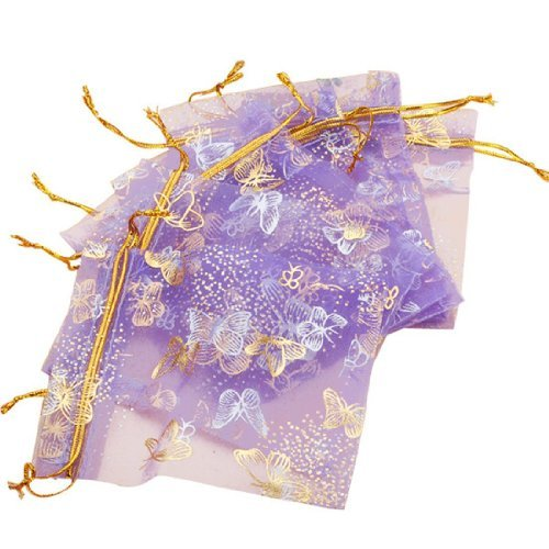 Islandoffer Butterfly Purple Organza Drawstring Pouches Jewelry Party Wedding Gift Bags 10*12cm ( Pack of 100)