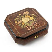 buy Charming Handcrafted Octagonal Italian Music Box With Floral Bouquet Inlay With 18 Note Tune-Diamond'S Are A Girls Best Friend