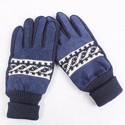 ZHGI Gli uomini coreani guanti autunno inverno guanti ciclismo-caldo imbottito guanti in pelle Guanti,blu navy