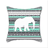 Cotton Linen Throw Pillow, Decorative Pillows.? Tiffany Aztec White Elephant Pattern Design Cotton Linen Square Decorative Throw Pillow Case Cushion Cover 18 x 18 Inch
