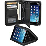 GMYLE(R) Business Portfolio Case for iPad mini Retina - Black R-64 Pattern PU Leather Protective Slim Folio Stand Case Cover (with Card Slots and Money Pocket)