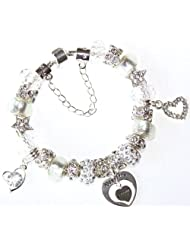 CHARM BRACELET IN SPARKLING ICE WHITE AND SILVER - With a Personalised charm of your choice - MUM & DAUGHTER,...