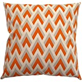 JinStyles Cotton Canvas Chevron Spike Accent Decorative Throw/Toss Pillow Cover (Orange, Grey, Beige, Square, 1 Cover for 18 x 18 Inserts)