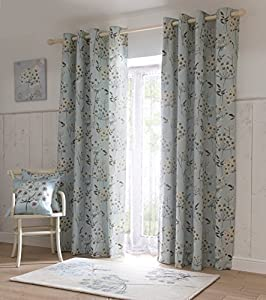 """CEPA FLORAL CREAM DUCK EGG 66"""" x 54"""" LINED RING TOP CURTAINS #MUILLA *SMD* by PCJ Supplies"""