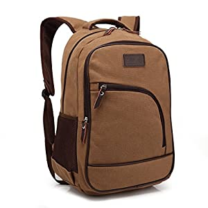 ZeleToile® Unisex Pro Multifunctional Casual Canvas Computer Backpack Schoolbag Traveling Bags Camping Bag Student School Backpack Rucksack Daypack Shoulder Belt Bag for Notebook Laptop PC 13 ~ 15 Inch - Coffee