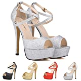 ZriEy Womens Peep Toe Strappy Platform Stiletto Ladies High Heel Sandal Shoes