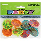 Unique Plastic Spinning Tops, 8 Count