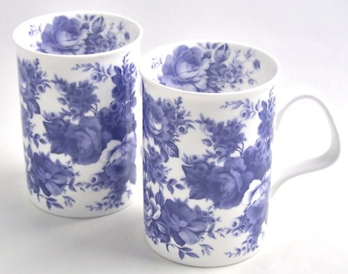 Fine Bone China Mugs - Set Of Two - Blue Rose Chintz - Made In England