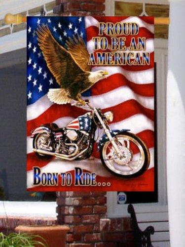 Motorcycle Harley Hog Born To Ride Outdoor Flag Garden