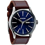 Nixon A105 1524 Sentry Leather Mens Watch Blue/Brown