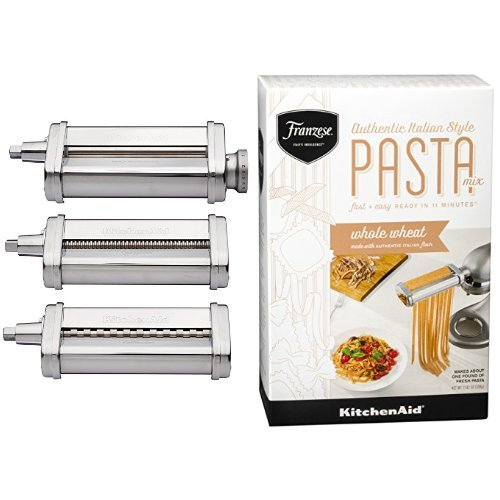KitchenAid KSMPRA 3-Piece Pasta Roller and Cutter with KitchenAid Franzese Whole Wheat Pasta Mix (Pasta Cutter Set compare prices)