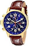 Invicta I-Force Men's Quartz Watch with Blue Dial  Chronograph display on Brown Leather Strap 3329