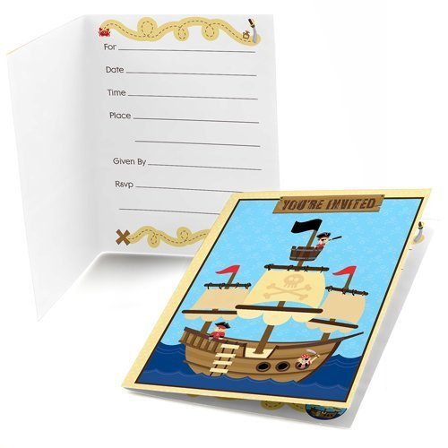 Ahoy Mates! Pirate Fill-in Invitations (8 count)