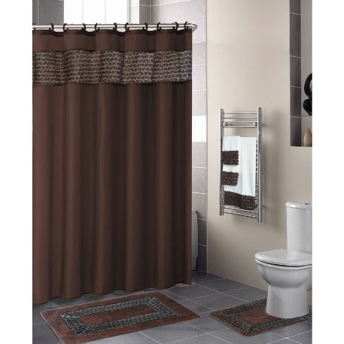 CHOCOLATE BROWN FLORAL RIBBON 18-Piece Bathroom Set: 2-Rugs/Mats, 1-Fabric Shower Curtain, 12-Fabric Covered Rings, 3-Pc. Decorative Towel Set