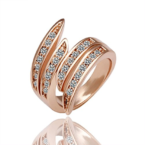 Cy-Buity Korean Style Rose Gold Plated Ring Shining Exquisite White Rhinestone Abnormity Finger Ring Bague Size 7