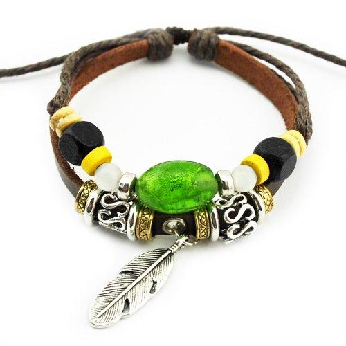 real-spark-hecho-a-mano-tribal-colgantes-de-plumas-de-cuentas-strand-cuero-wrap-pulsera