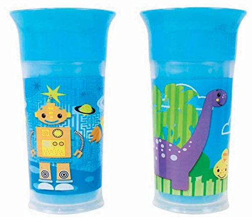 Sassy 9oz. Insulated Grow Up Cup - 2 Pack, Robot and Dinosaurs