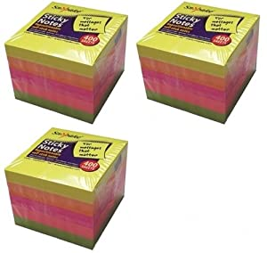 3 x Snopake Cubes Sticky Notes Pads 400 sheets per cube 50mm x 50mm Post It