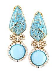Eye Catching Gold Ear Piece With A Long Aqua Blue Enamel & Big Aqua Blue Stone With Pearls