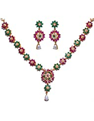 Gehna Pearl Emerald & Ruby Stone Studded Flower Style Necklace & Earrings Set