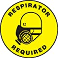 "Accuform Signs MFS0817 Slip-Gard Adhesive Vinyl Round Floor Sign, Legend ""RESPIRATOR REQUIRED"" with Graphic, 17"" Diameter, Black on Yellow"