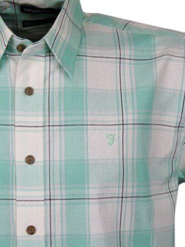 Mens Farah Casual Check Shirt Mint Green Short Sleeves