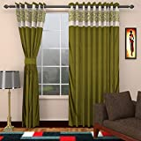 Style Furnishings 2 Piece Polyester Long Door Curtain - 9 ft, Green
