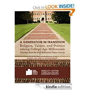 Logo for A Generation in Transition: Religion, Values, and Politics among College-Age Millennials