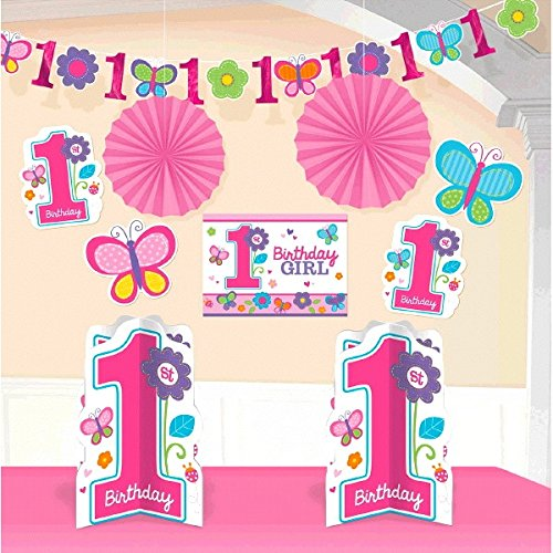 Amscan Sweet Birthday Girl 1st Birthday Room Decorating Kit, Large, Pink/Purple/Green/Orange/Blue - 1