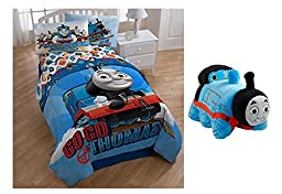Thomas & Friends Go Go 5 Piece Twin Bedding Comforter Sheets Bundle with Sleeping Plush Buddy
