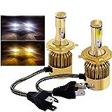 Globled 9600LM H4/9003/HB3 Dual Colors LED Headlights Kits Bulbs Hi/Lo Beam 3000k Yellow&6000k White 76W (H4/9003/HB2)