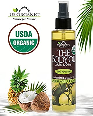 #1 Body & Bath Oil - Smooth Caribbean Coconut ★ Certified Organic by USDA ★ Jojoba & Olive Oil w/ Vitamin E ★ No Alcohol, Paraben, Artificial Detergents, Color or Synthetic perfumes ★ 5 Fl.oz.