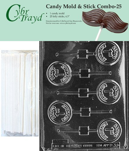 """Cybrtrayd 45St25-B039 Baby'S 1St Birthday Lolly Chocolate Candy Mold With 25 Cybrtrayd 4.5"""" Lollipop Sticks front-981264"""