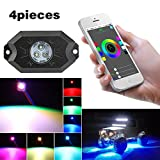 KOYA Multi-Color CREE RGB LED Rock Light Kits with Bluetooth Controller ,Timing Function, Music Mode for Cars Truck Exterior 4 Wheeler ATV SUV Jeep Mine Boat Motorcycle Waterproof Neon LED Light