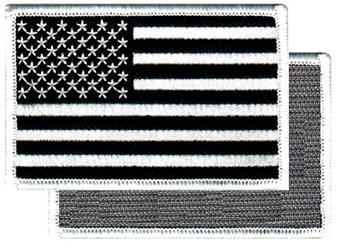 American Flag Embroidered Velcro Patch Black White US Tactical Military Uniform