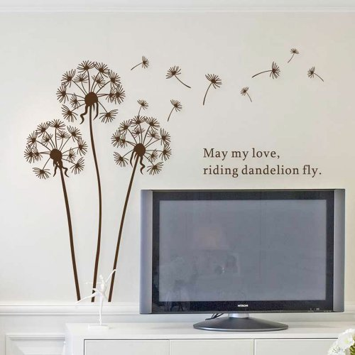 Walplus Dandelion In The Wind II Huge Removable Vinyl Wall Sticker Mural Decal Art, Sienna