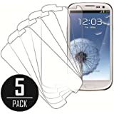 eTECH Collection 5 Pack of Crystal Clear Screen Protectors for Samsung Galaxy S3 / SIII /i9300 AT&T, T-Mobile, Sprint, Verizon