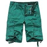 Men's Cotton Casual Multi Pockets Cargo Shorts #32...
