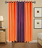Indian Online Mall Plain Door Curtain (Pack of 2), Orange and Wine