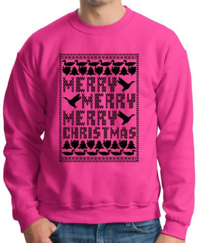Merry Merry Merry Christmas Ugly Sweater Crewneck Sweatshirt Small Heliconia