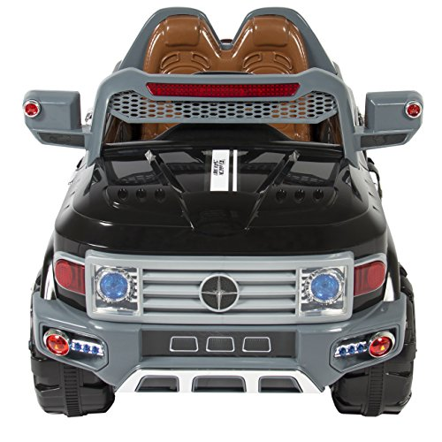 best choice products kids 12v mp3 truck car with led lights aux music black little kid cars