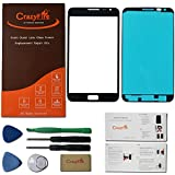 CrazyFire® Free Shipping Black Front Outer Lens Glass Screen Replacement Cover For Samsung Galaxy Note One N7000+Adhesive+Tools+Instruction Manual+Strong Box