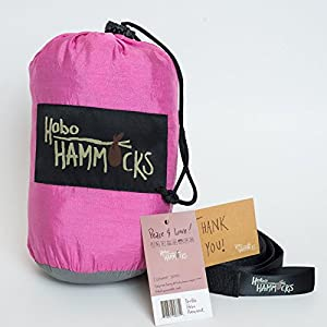 Hobo Hammocks - Full Double Hammock (Free Straps Included) - Parachute Nylon (Pink Panther)