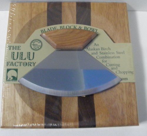 """6.5"""" Block With Deep Dish Chopping Bowl And Ulu Knife With Plain Birch Handle"""