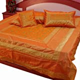 Little India Traditional Hand Embroidery Silk 5 Piece Double Bedding Set - Yellow  (DLI3SLK201)